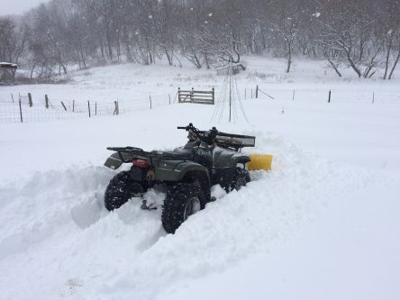 The ATV is stuck